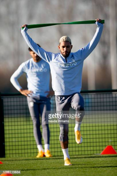 Douglas Luiz of Aston Villa in action during a training session at Bodymoor Heath training ground on November 26 2020 in Birmingham England