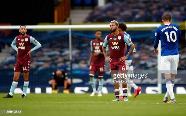 Douglas Luiz of Aston Villa reacts during the Premier League match between Everton FC and Aston Villa at Goodison Park on July 16, 2020 in Liverpool,...
