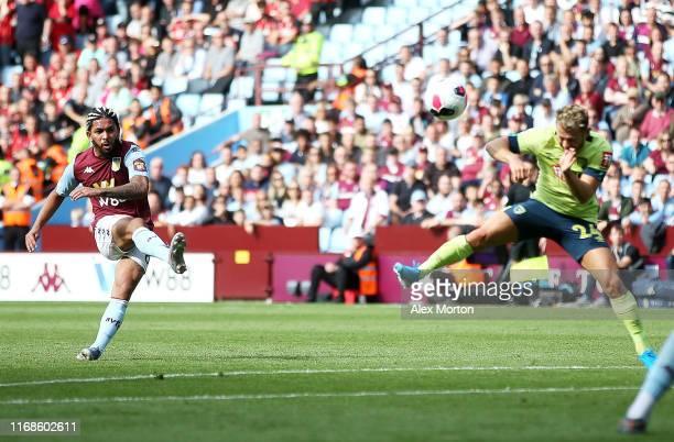 Douglas Luiz of Aston Villa scores his team's first goal during the Premier League match between Aston Villa and AFC Bournemouth at Villa Park on...