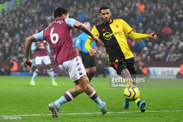 Douglas Luiz of Aston Villa scores his team's first goal during the Premier League match between Aston Villa and Watford FC at Villa Park on January...
