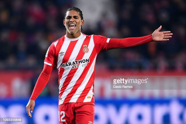 Douglas Luiz of Girona FC reacts during the La Liga match between Girona FC and Deportivo Alaves at Montilivi Stadium on January 12 2019 in Girona...