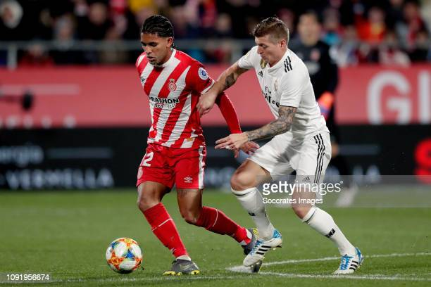 Douglas Luiz of Girona, Toni Kroos of Real Madrid during the Spanish Copa del Rey match between Girona v Real Madrid at the Estadi Municipal...
