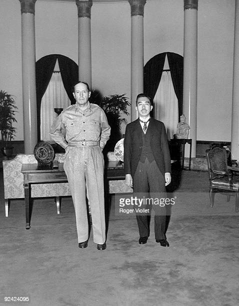 Douglas MacArthur , American General, greeting the Emperor of Japan Hirohito at the American embassy in Tokyo, on September 27, 1945.