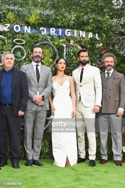 Douglas Mackinnon Jon Hamm Adria Arjona David Tennant and Michael Sheen attend the World Premiere of new Amazon Original Good Omens at the Odeon Luxe...