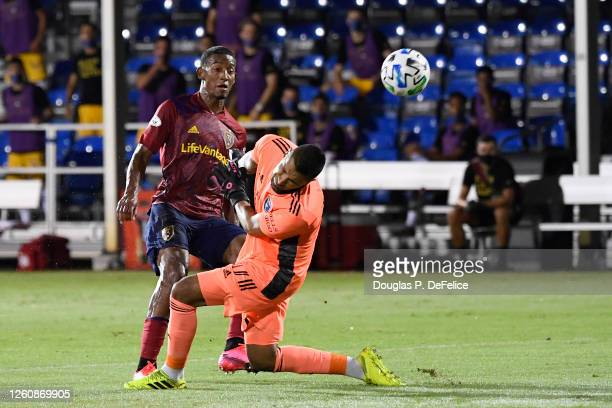 Douglas Martinez of Real Salt Lake scores the first goal of his team during a round of 16 match of the MLS Is Back Tournament between San Jose...