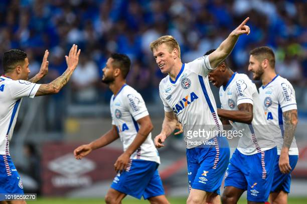 Douglas of Bahia celebrates a scored goal against Cruzeiro during a match between Cruzeiro and Bahia as part of Brasileirao Series A 2018 at Mineirao...