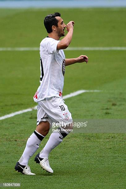 Douglas of Corinthians celebrates a scored goal during a match between Botafogo and Corinthians as part of the Brazilian Serie A Championship at...