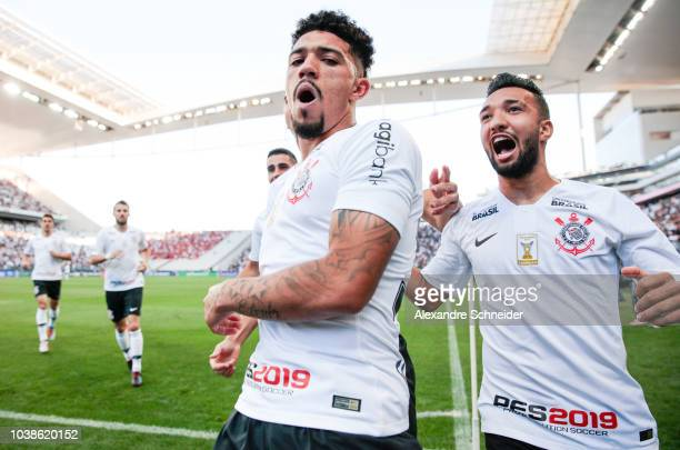 Douglas of Corinthians celebrates after scoring their first goal during the match against Internacional for the Brasileirao 2018 at Arena Corinthians...