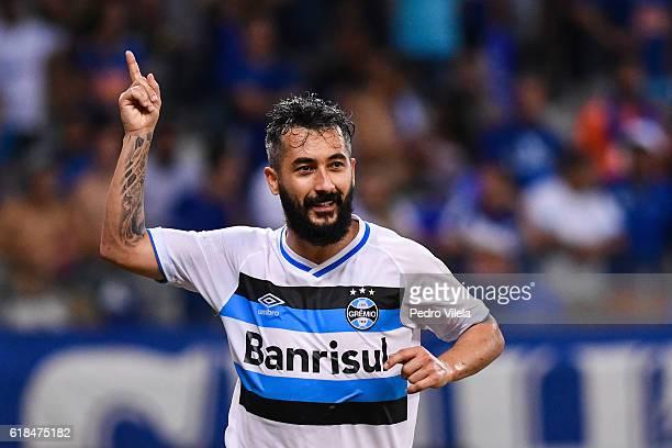 Douglas of Gremio celebrates a scored goal against Cruzeiro during a match between Cruzeiro and Gremio as part of Copa do Brasil SemiFinals 2016 at...