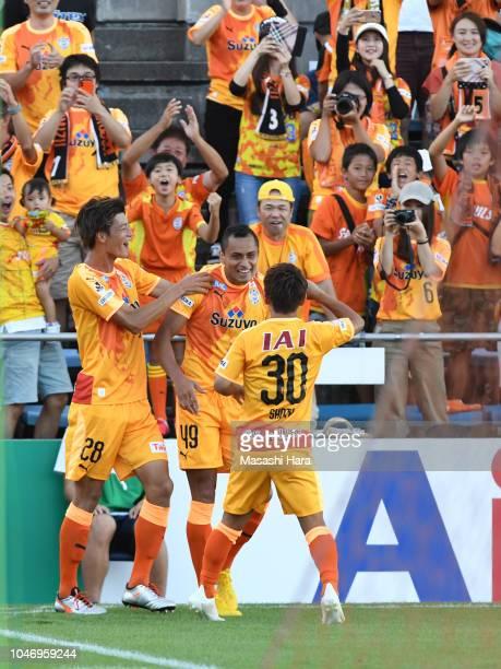 Douglas of Shimizu SPulse celebrates the third goal during the JLeague J1 match between Shimizu SPulse and Jubilo Iwata at IAI Stadium Nihondaira...
