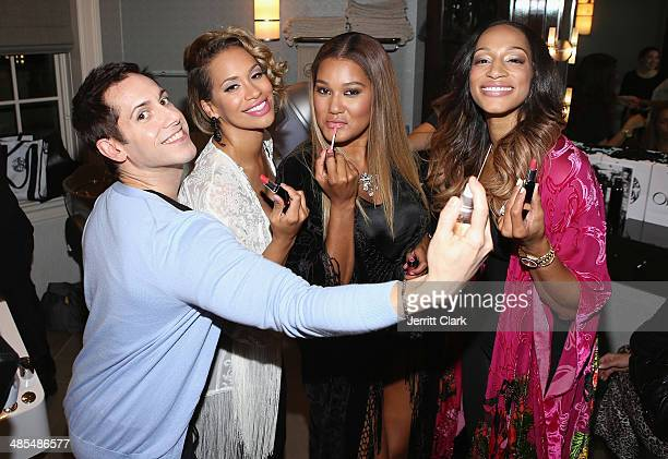 Douglas Otero of D Style Makeup poses with Amber Sabathia Elaina Watley and Alexis Stoudemire at Ladies Night In Benefiting Not For Sale on April 17...