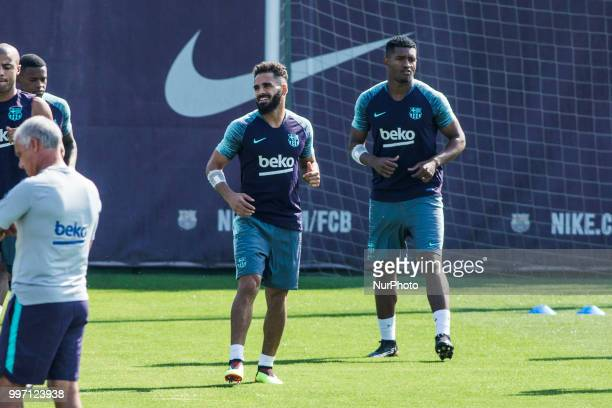 Douglas Pereira from Brasil of FC Barcelona and Marlon Santos from Brasil of FC Barcelona during the first FC Barcelona training session of the...