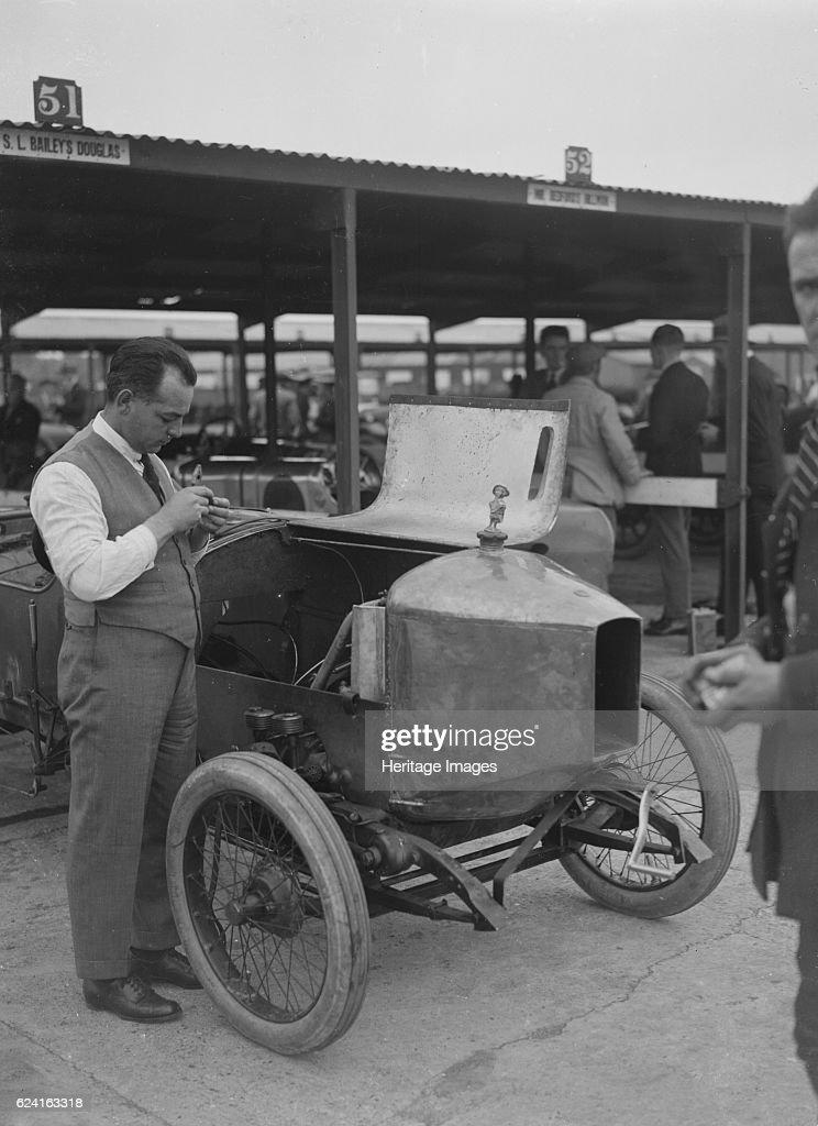 Douglas racing car of SL Bailey at the JCC 200 Mile Race, Brooklands, Surrey, 1921 : News Photo