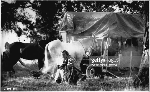 Douglas Rendell at his makeshift camp with his horses and dog west of NewcastleNo fixes address Douglas Rendell's horse float is his only homeDouglas...