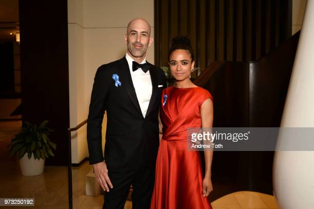 Douglas Ridloff and Lauren Ridloff pose for a photo as the 2018 TONY award nominees prep at Langham Hotel on June 10 2018 in New York City
