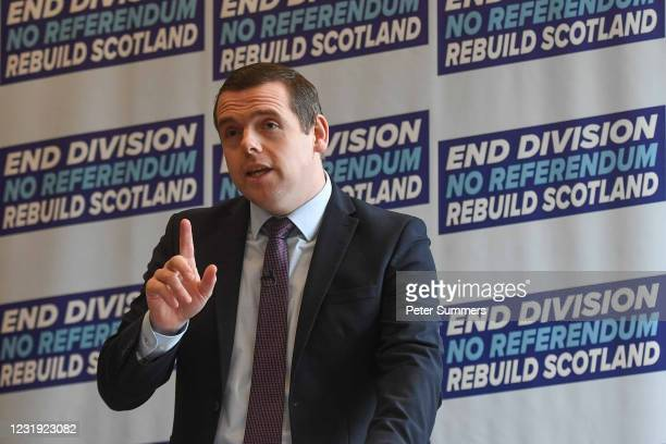 Douglas Ross, leader of the Scottish Conservatives, is seen making a speech on March 25, 2021 in Aberdeen, Scotland. The Scottish Parliament election...