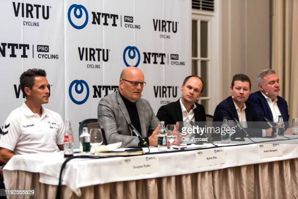 Douglas Ryder , founder of the South African NTT Pro Cycling team, Bjarne Riis co-owner of Virtue Cycling together with Lars Seier Christensen seen...