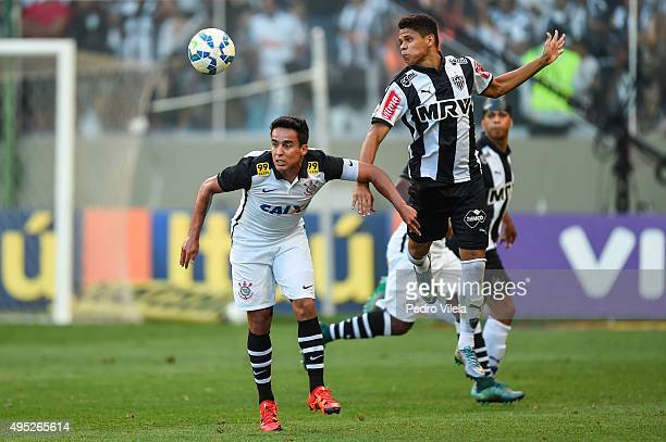 Douglas Santos of Atletico MG and Jadson of Corinthians battle for the ball during a match between Atletico MG and Corinthians as part of Brasileirao...