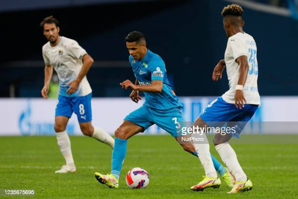Douglas Santos of Zenit in action during the Russian Premier League match between FC Zenit Saint Petersburg and FC Sochi on October 3, 2021 at...