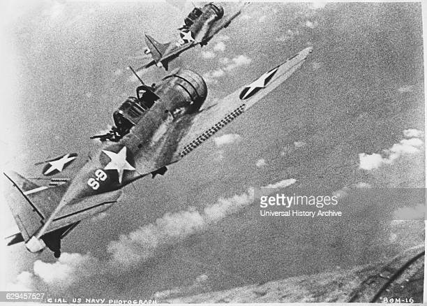 US Douglas SBD3 Dauntless Dive Bombers About to Attack Burning Japanese Cruiser Mikuma June 6 1942