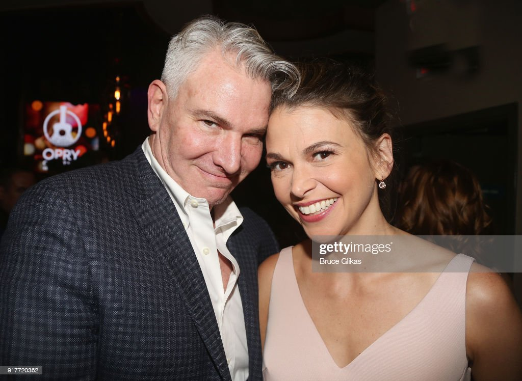Douglas Sills and Sutton Foster pose at the 'Thoroughly Modern Millie' 15th Anniversary Reunion Concert After Party at Opry City Stage on February 12, 2018 in New York City.