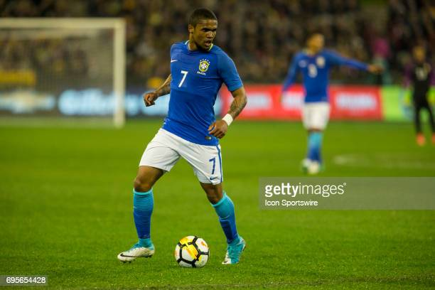 Douglas Souza of the Brazilian National Football Team looks for options during the International Friendly Match Between Brazilian National Football...