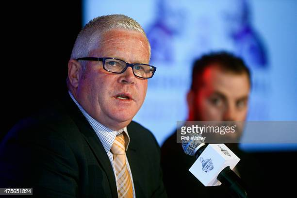 Douglas Webber Events Director Craig Douglas speaks to the media during a press conference at Eden Park on June 3 2015 in Auckland New Zealand...