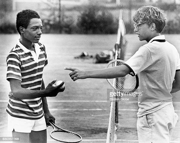 Douglass Robertson and David Atkinson discuss a baseline shot at Sportsmans Tennis Club in Dorchester on July 28 1976 They are among 12000 Boston...