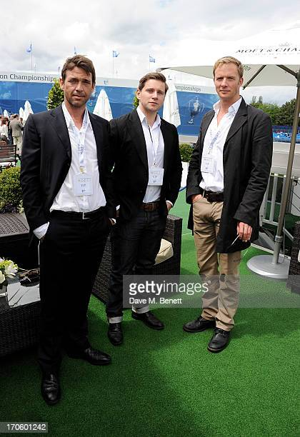 Dougray Scott Allen Leech and Rupert PenryJones attend The Moet Chandon Suite at The Aegon Championships Queens Club SemiFinals on June 15 2013 in...