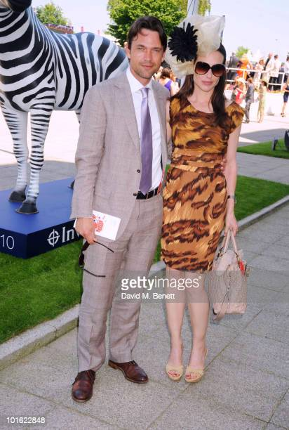 Dougray Scott and Claire Forlani attend the Investec Derby Day Lunch during Investec Ladies Day at Epsom Races on June 4 2010 in Epsom England