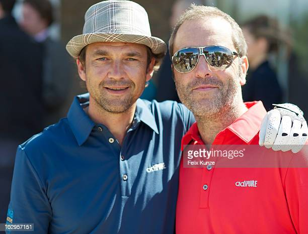 Dougray Scott and James Nesbitt take part in the Leuka Mini Masters charity golf competition on July 16 2010 in London England