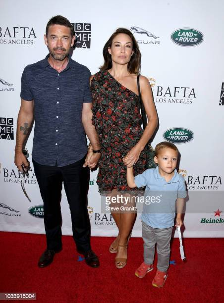 Dougray Scott Claire Forlani and Milo Thomas Scott attend BAFTA Los Angeles BBC America TV Tea Party 2018 at The Beverly Hilton Hotel on September 15...