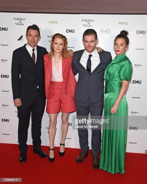 """Dougray Scott, Emily Beecham, Mark Stanley and Anna Friel attend the World Premiere of """"Sulphur And White"""" at The Curzon Mayfair on February 27, 2020..."""