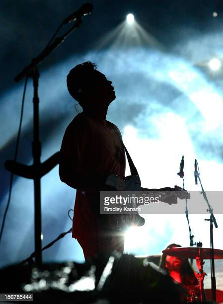 Dougy Mandagi of the Temper Trap performs live for fans ahead of the Coldplay show at Suncorp Stadium on November 21, 2012 in Brisbane, Australia.