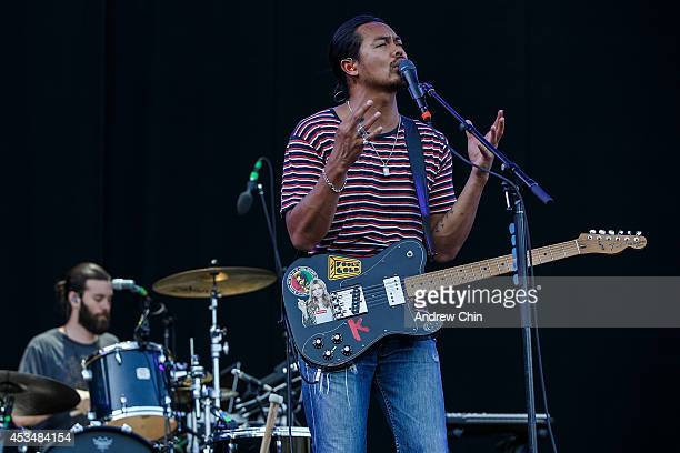 Dougy Mandagi of The Temper Trap performs on stage during Day 3 of Squamish Valley Music Festival on August 10, 2014 in Squamish, Canada.