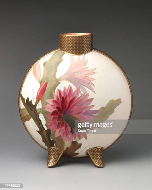 Doulton Manufactory, Moon flask with pink flower motif, British, Lambeth, London, Doulton Manufactory , 1882–1891, British, Lambeth, London,...