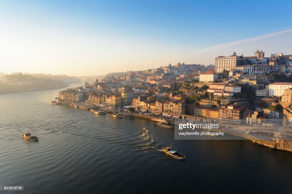 Douro river and Porto old town at sunset, Portugal : Stock Photo