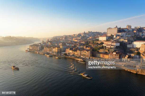 Douro river and Porto old town at sunset, Portugal