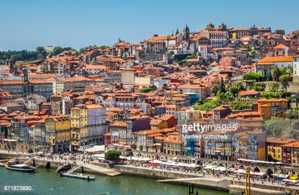 douro river and ribeira waterfront porto - douro river stock-fotos und bilder