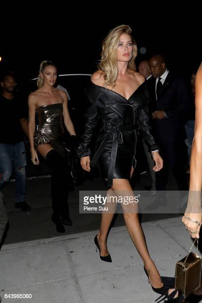 Doutzen Kroes and Candice Swanpoel arrive at the Mert Alas x Marcus Piggot book launch party at Public Hotelon September 7 2017 in New York City