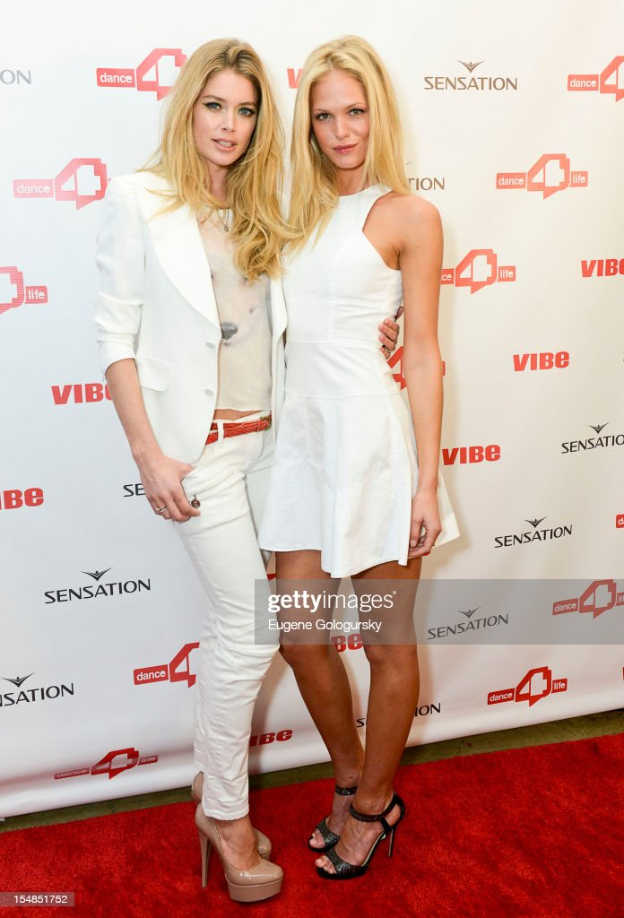 Doutzen Kroes and Erin Heatherton attends the dance4life USA Cocktail Party Supported By Sensation at Milk Studios on October 27, 2012 in New York City.
