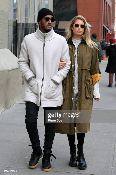 Doutzen Kroes and her husband Sunnery James are seen strolling in Soho on February 14 2017 in New York City