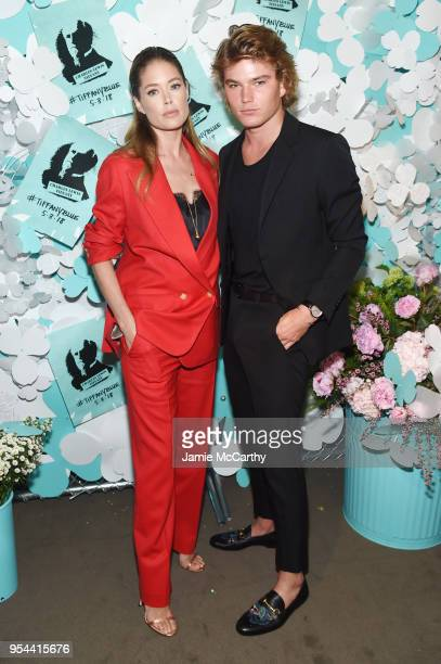 Doutzen Kroes and Jordan Barrett attend the Tiffany Co Paper Flowers event and Believe In Dreams campaign launch on May 3 2018 in New York City