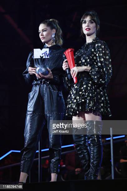 Doutzen Kroes and Paz Vega on stage to present Best Hip Hop award during the MTV EMAs 2019 at FIBES Conference and Exhibition Centre on November 03,...