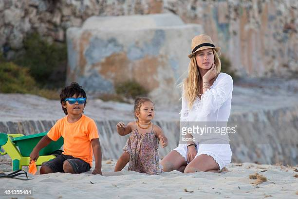 Doutzen Kroes and Sunnery james are seen spending a family day on the beach on August 17 2015 in Ibiza Spain