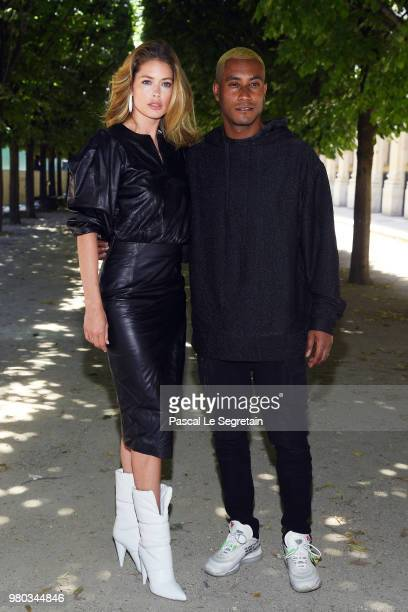 Doutzen Kroes and Sunnery James attend the Louis Vuitton Menswear Spring/Summer 2019 show as part of Paris Fashion Week on June 21 2018 in Paris...