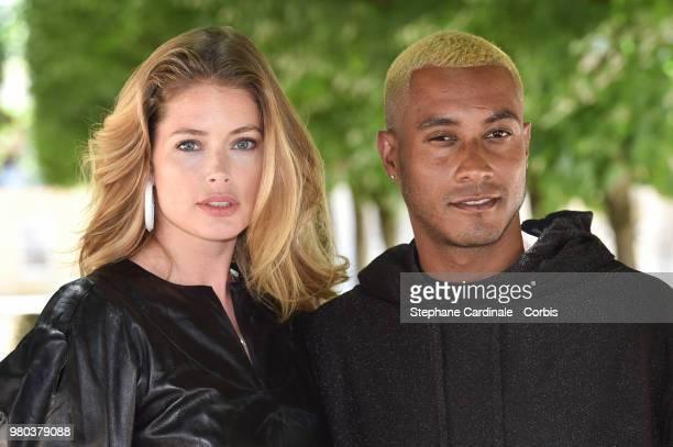 Doutzen Kroes and Sunnery James attend the Louis Vuitton Menswear Spring/Summer 2019 show as part of Paris Fashion Week Week on June 21 2018 in Paris...