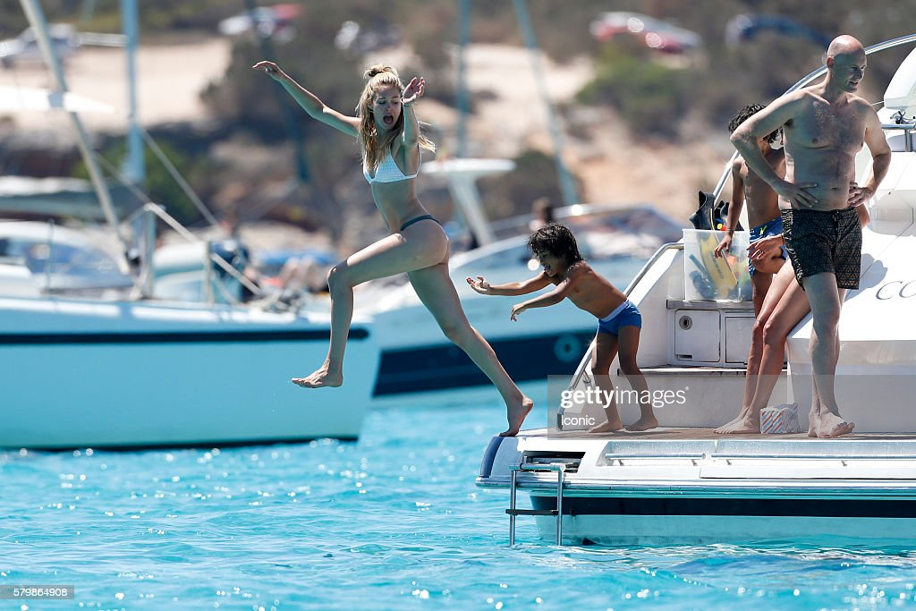 Doutzen Kroes and Sunnery James enjoy a day on a yacht on July 25, 2016 in Ibiza, Spain.