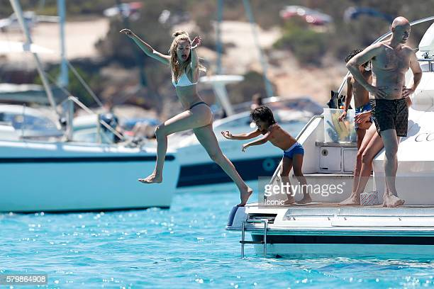 Doutzen Kroes and Sunnery James enjoy a day on a yacht on July 25 2016 in Ibiza Spain