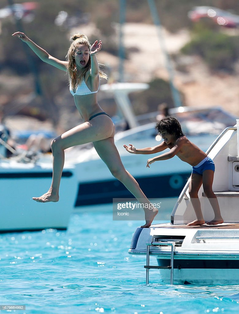Doutzen Kroes and Sunnery James enjoy a day on a yacht with their children on July 25, 2016 in Ibiza, Spain.